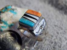 Light Weight Sterling Multi Stone Inlay Unisex Ring Navajo T Lincoln Size 6 3/4