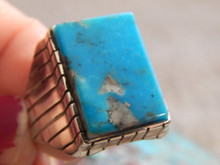 Mens Sterling  Silver Kingman  Turquoise Inlay Ring Navajo Ray Jack Size 12 1/4