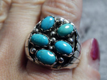 Mens Sterling Silver Turquoise Ring By Navajo Mariyln Martinez Size 10 1/4