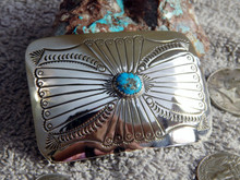 New Sterling Silver Kingman Turquoise Belt Buckle By Navajo Joann Silver