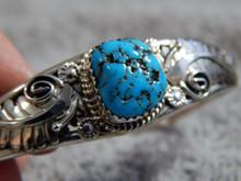 Kingman Turquoise Sterling Silver Ladies Bracelet By Navajo Ray Yazzie
