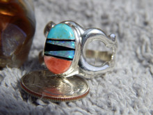 Light Weight Sterling Multi Stone Unisex Ring Navajo  Tommy Lincoln Size 10