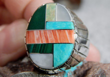 New Mens Silver Turquoise Spiny Oyster Inlay Ring Navajo Ray Jack Size 10 1/2