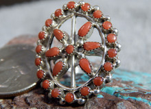 New Ladies Sterling Silver Coral Ring by Zuni Artist Delores Peina Size 6 1/2