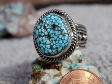 Mens Black Web Turquoise Sterling Silver Ring by Navajo Russell Sam Size 10