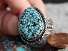 Mens Black Web Turquoise Sterling Silver Ring by Navajo Russell Sam Size 12 3/4