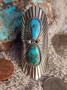 Bisbee Turquoise Sterling Silver Ladies Ring Navajo Robert Shakey Size 9 3/4