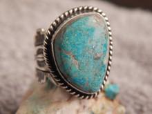 Ladies Bisbee Turquoise Sterling Silver Ring Navajo Robert Shakey Size 7 1/4