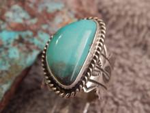 Ladies Bisbee Turquoise Sterling Silver Ring Navajo Robert Shakey Size 6 1/4