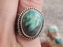 Ladies Bisbee Turquoise Sterling Silver Ring Navajo Robert Shakey Size 7 1/2