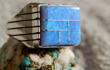 New  Mens Sterling Silver Created Opal Ring By Navajo Ray Jack Size 10