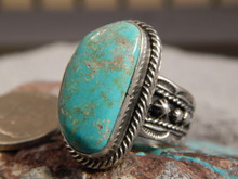 Mens Bisbee Turquoise Sterling Silver Ring by Navajo Russell Sam Size 12 3/4