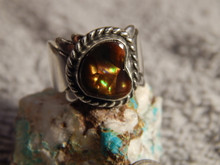 Fire Agate Sterling Silver Ladies Ring By Navajo Geraldine James Size 5 1/2