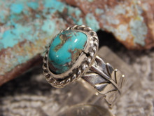 Bisbee Turquoise Silver Adjustable Ladies  Ring By Navajo G James Size 8 1/2