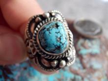 Sterling Black Spiderweb Turquoise Unisex Ring Navajo Lorenzo James Size 8