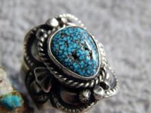 Sterling Black Spiderweb Turquoise Unisex Ring  Navajo Lorenzo James Size 8 3/4