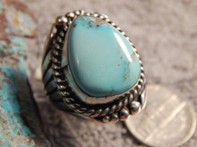 New Bisbee Turquoise Sterling Silver Ring  by Navajo Russell Sam Size 9 3/4