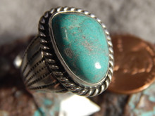 Mens Bisbee Turquoise Sterling Silver Ring by Navajo Geraldine James Size 9 3/4
