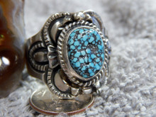 Sterling Black Spiderweb Turquoise Unisex Ring Navajo Lorenzo James Size 13