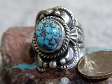 Sterling Black Spiderweb Turquoise  Unisex Ring Navajo Lorenzo James Size 7