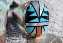 Mens Sterling Silver Large Turquoise Coral Inlay Ring Navajo Sam Begay Size 13