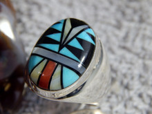 Mens Sterling Silver Large Turquoise Coral Inlay Ring Navajo Sam Begay Size 12