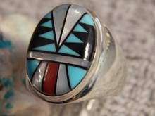 Mens Sterling  Large Turquoise Coral Inlay Ring Navajo Sam Begay Size 13 1/4