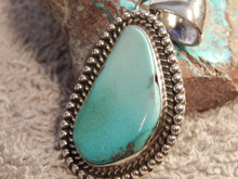 New Blue Bisbee Turquoise Sterling  Silver Pendant  By Navajo Geraldine James