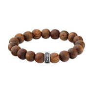 Light Brown Natural Wood Bead Bracelet