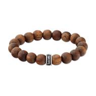 Light Brown Natural Wood Bead Bracelet