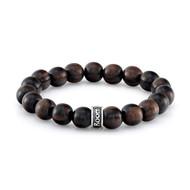 Dark Brown Natural Wood Bead Bracelet