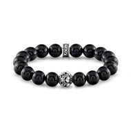 Polished Agate Bead Bracelet with Sterling Silver Skull Bead