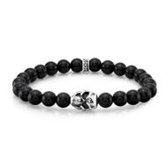 8mm Agate Bead Bracelet with Sterling Silver Skull