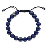 Lapis Beads Bracelet With Sterling Silver Fitting