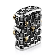 Tank Checker Cigar Lighter in Sterling Silver with 13 Skulls