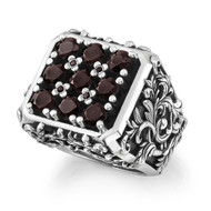 Sterling Silver No. 9 filigree Men's Ring