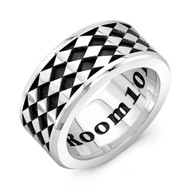 Sterling Silver LG Band Ring - Diamond Pattern