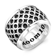 Sterling Silver XXL Men's Band Ring - Infinity Pattern