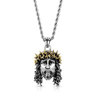 Chuey Quintanar Stainless Steel w/ Two Tone Gold Plate Jesus - 25 in Rope Chain Necklace