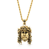 Chuey Quintanar Gold Vermeil Jesus w/ 25 in Rope Chain Necklace