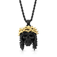 Chuey Quintanar Matte Black & Gold Vermeil Jesus Skull  - 25 In Rope Chain Necklace