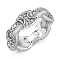 Stainless Steel White Pave Link Ring