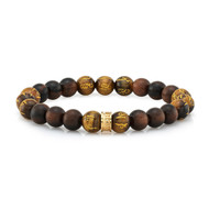 Wood & Tiger's Eye Bead Bracelet with Sterling Silver