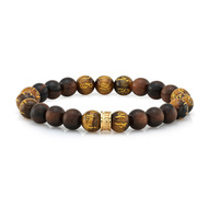 Wood & Tiger's Eye Bead Stretch Bracelet