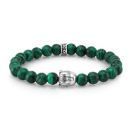 Silver Buddha Malachite Bead Bracelet