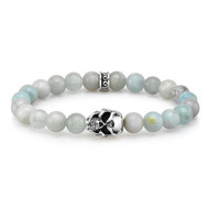 8mm Aquamarine Bead Bracelet with Sterling Silver Skull