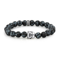 8mm Snowflake Agate Bead Bracelet With Sterling Silver Buddha