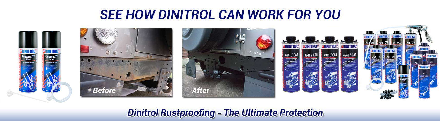 Dinitrol rust proofing kits used to treat rust and protect