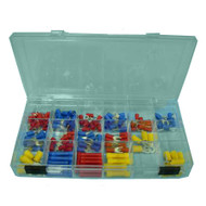 ELECTRICAL TERMINAL KIT IN CLEAR PLASTIC CONTAINER WITH 18 SECTIONS.