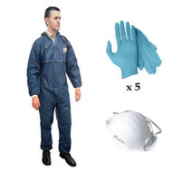 PERSONAL PROTECTION KIT - DISPOSABLE COVERALL SUIT, NITRILE GLOVES, DUST MASK, SHOE COVERS